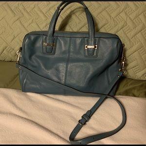 Coach Taylor leather satchel handbag teal. Used.